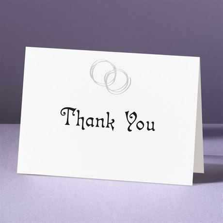 Silver Rings  Thank You Card and Envelope