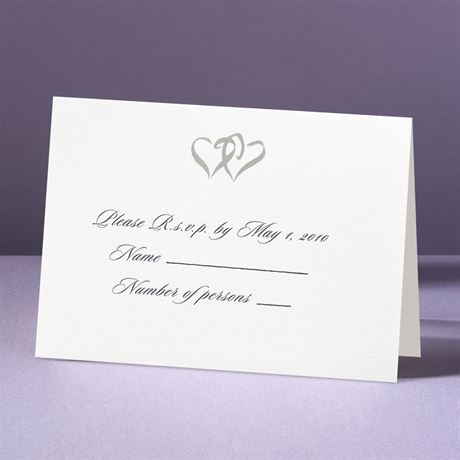 Silver Hearts  Response Card and Envelope