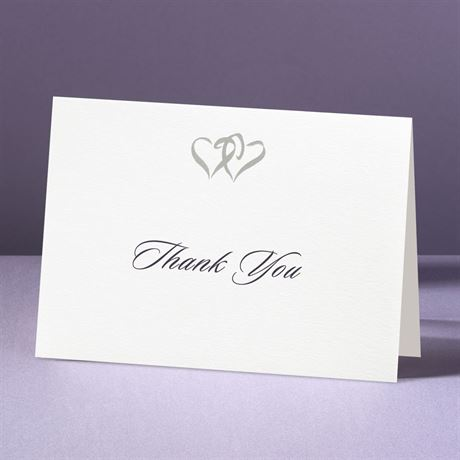 Silver Hearts  Thank You Card and Envelope