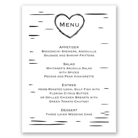 Sweetly Carved  Menu Card