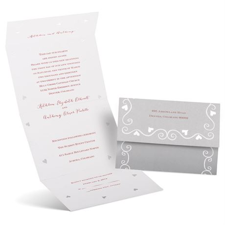 Hearts and Swirls  Seal and Send Invitation