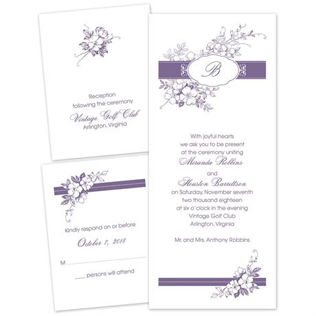 Cherry Blossoms - Separate and Send Invitation