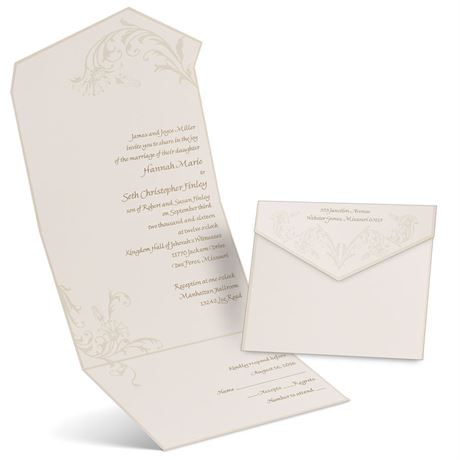 Pearl Flourish Ecru Seal and Send Invitation