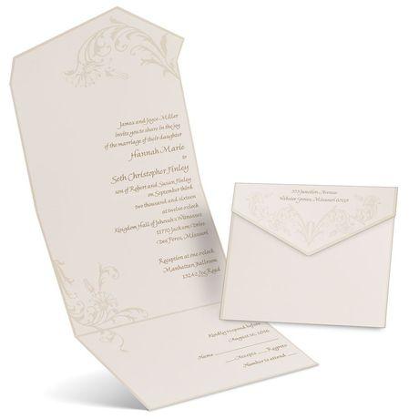 Pearl Flourish - Ecru - Seal and Send Invitation
