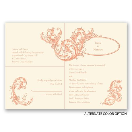 Filigree Wisps - Ecru - Separate and Send Invitation