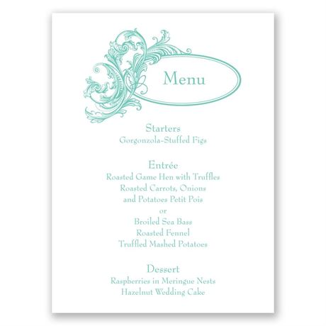 Filigree Wisps Menu Card