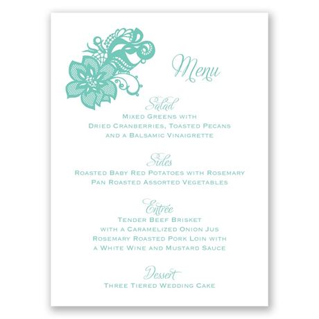 Lovely Lace Menu Card