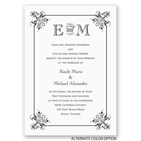Vintage Monogram - Invitation