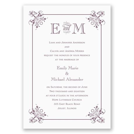 Vintage Monogram Invitation