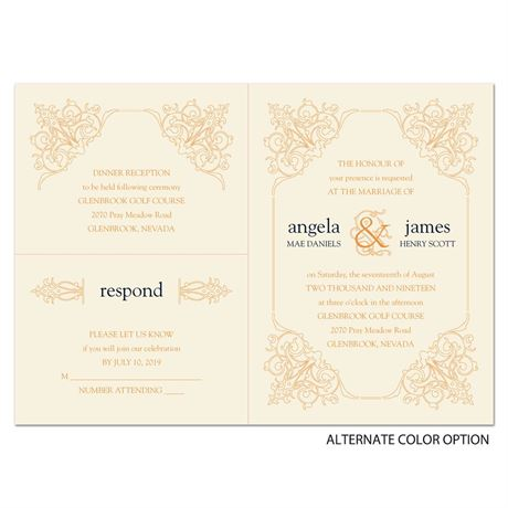 Ornate Details - Ecru - Separate and Send Invitation