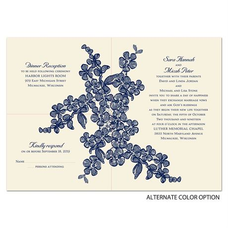 Floral Sketch - Ecru - Separate and Send Invitation