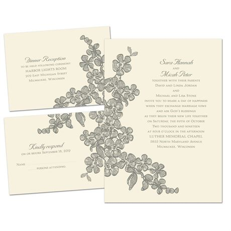Floral Sketch Separate And Send Invitation Ann S Bridal