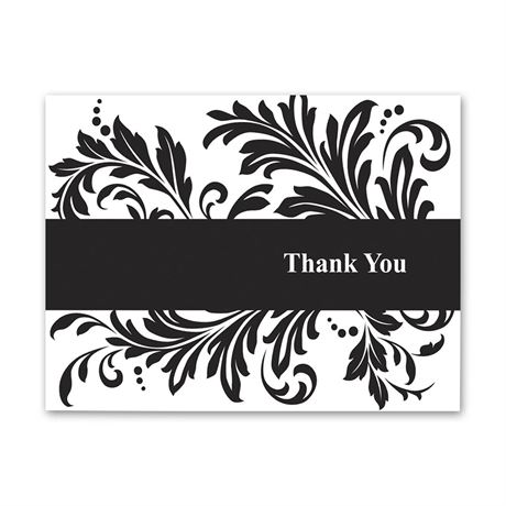 Feathered Damask Thank You Note Folder and Envelope