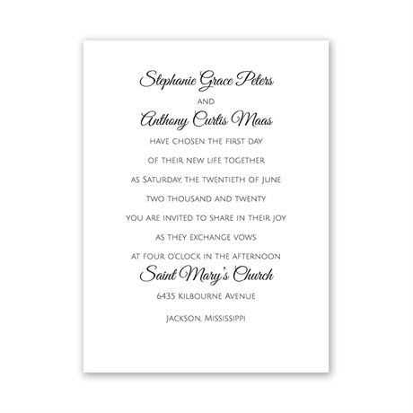 Pure Tradition White Petite Invitation