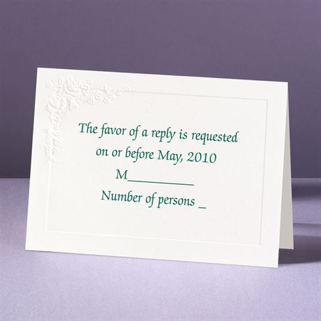 Embossed Floral in White Response Card and Envelope