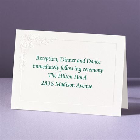 Embossed Floral in White Reception Card
