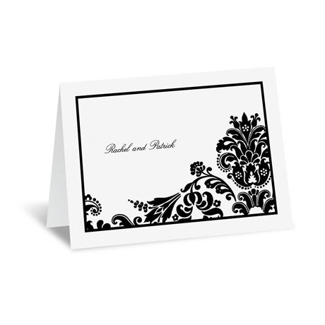 Dashing in Damask Thank You Card and Envelope