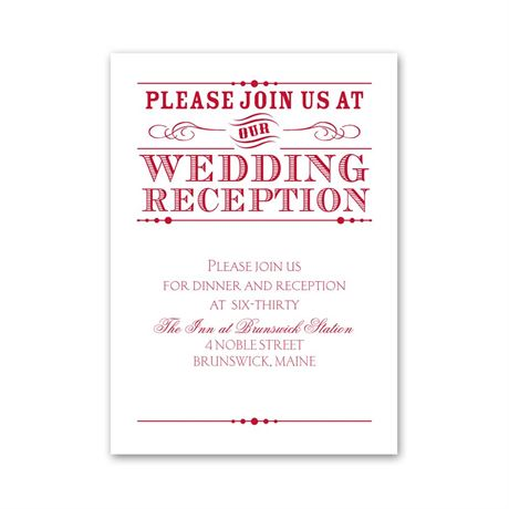 Typography on White Reception Card