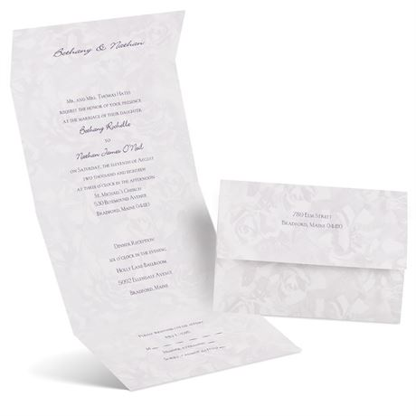 Lavender Roses Seal and Send Invitation