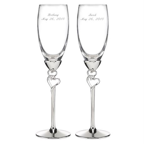 Embracing Hearts Toasting Flutes