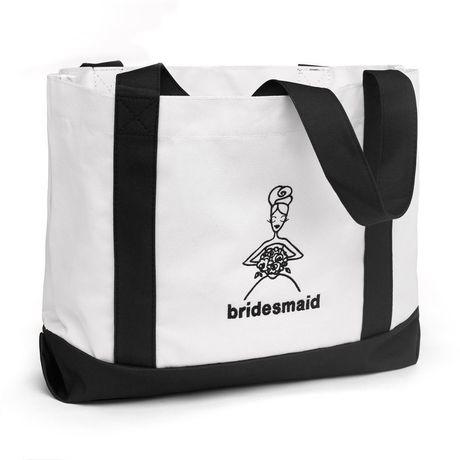 Bridesmaid Black and White Tote Bag