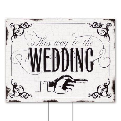 Black Wedding Direction Yard Sign