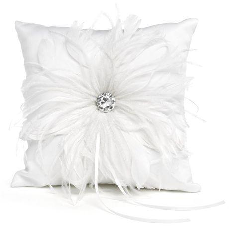 White Feathered Fantasy Ring Pillow