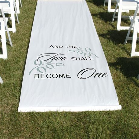 Two Shall Become One White Aisle Runner