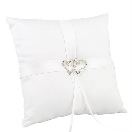 White With All My Heart Ring Pillow