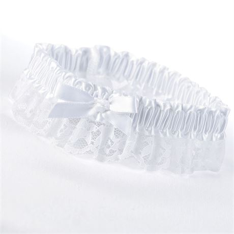 White Ribbon and Lace Wedding Garter