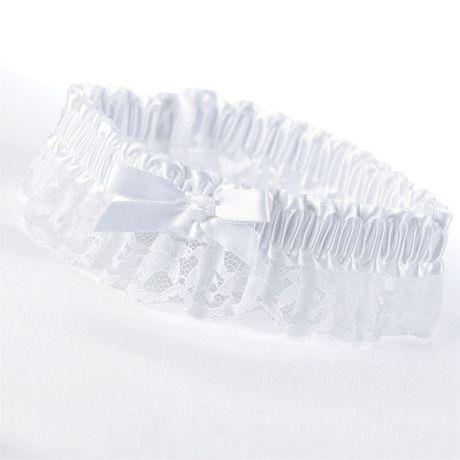 White Ribbon and Lace Wedding Garter