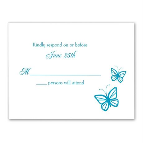 Delicate Butterflies Response Card and Envelope