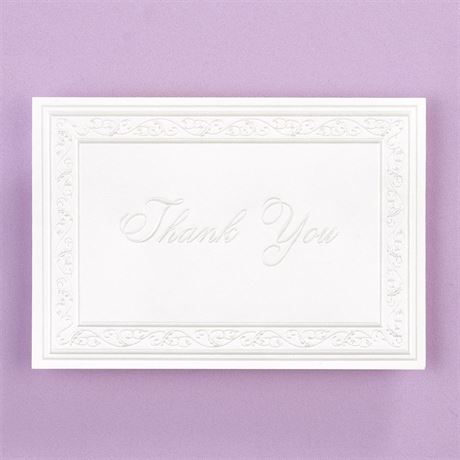 Pearl Filigree Border Thank You Note Blank