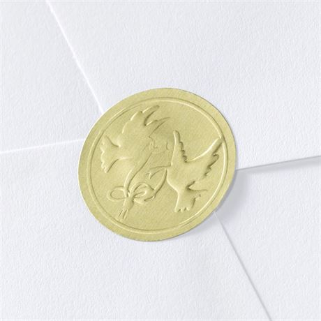 Doves And Rings Gold Foil Seal