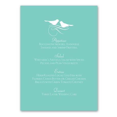 Charming Birds Menu Card