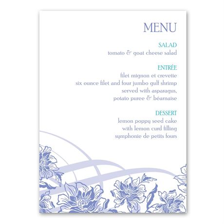 Flowers and Flourishes Menu Card