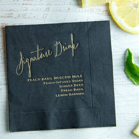 Signature Drink - White - Foil Cocktail Napkin