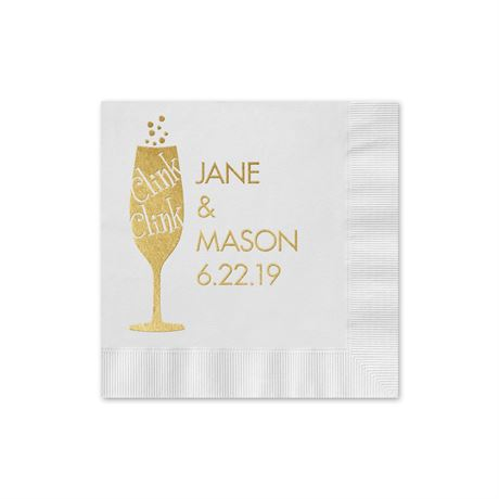 Clink Clink - White - Foil Cocktail Napkin