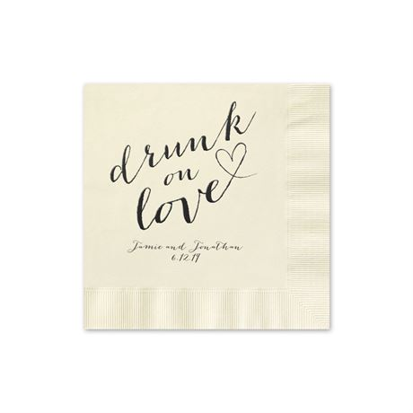 Drunk on Love - Ecru - Foil Cocktail Napkin