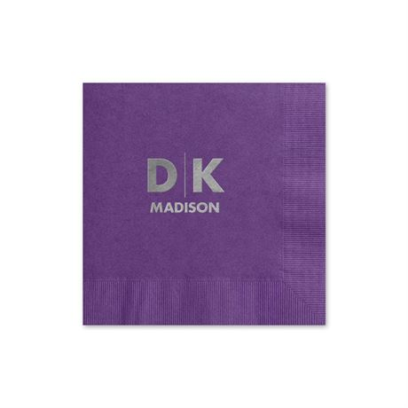Modern Signature - Purple - Foil Cocktail Napkin
