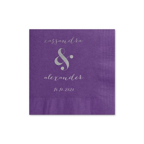 Modern Glow - Purple - Foil Cocktail Napkin