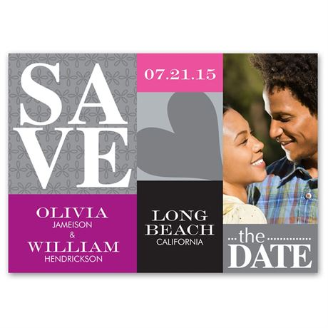 Blocks of Color Photo Save the Date Card
