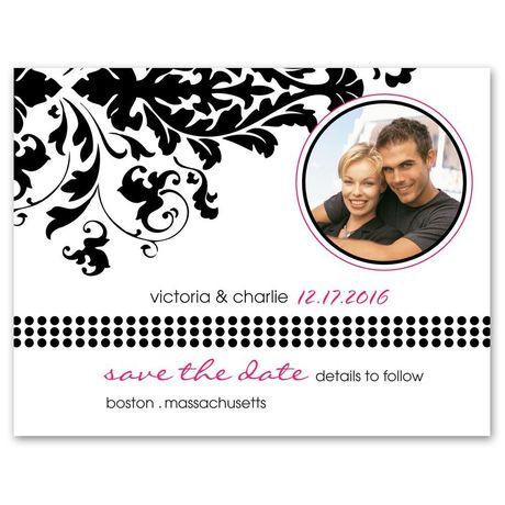 Damask Corner Photo Save the Date Card
