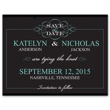 Flourishing Typography Photo Save the Date Card