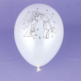 Kissing Couple White Pearl Balloon