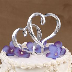 Wedding Cake Toppers: Double Heart Pick