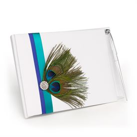 Beautiful Peacock Guest Book and Pen Set