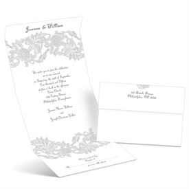 Vintage Lace - Sterling - Seal and Send Wedding Invitation