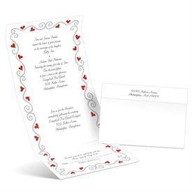 Whimsical Hearts - Scarlet - Seal and Send Wedding Invitation