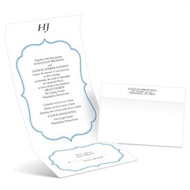 Graceful Frame - Blue - Seal and Send Wedding Invitation